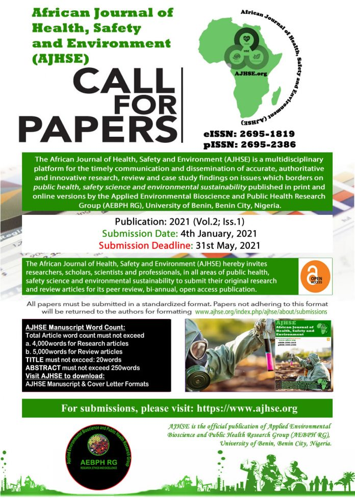 Call for Papers: African Journal of Health, Safety and Environment