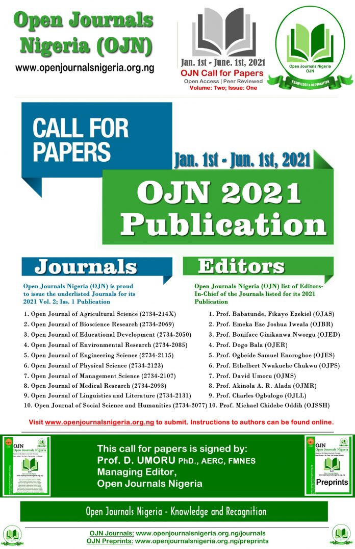 Open Journals Nigeria Call for Papers